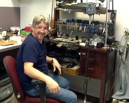 Mark Lutz, bench jeweler at Faye's Diamond Mine